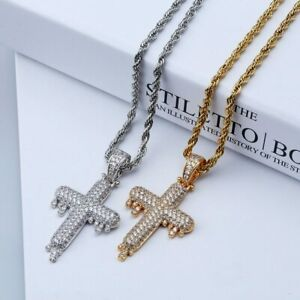 Luxury Iced Diamond Dripping Cross Pendant Necklace Chain Bling Out Jewellery
