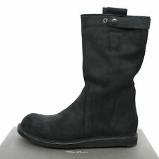 RICK OWENS $1,600 black leather pull on military combat geobiker boots 11/44 NEW
