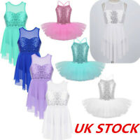 UK Kids Girls Ballet Dance Dress Leotard Lace Mesh Tutu Skirt Ballerina Costume