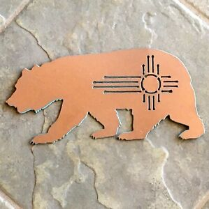 Southwest Bear w/ Zia Sun,Metal Wall, Hammered Copper & Turquoise Indoor/Outdoor