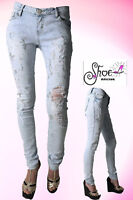 New Women's Ladies Celeb Ripped Skinny High Waist Denim Girls Pants Jeans 6-14
