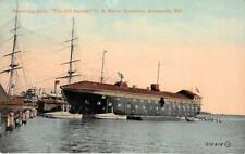 "Receiving Ship ""Old Santee"" Naval Academy, Annapolis, MD c1910s Vintage Postcard"