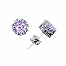 Nice New White Gold Silver Plated Round Crown Set Light Purple CZ Stud Earrings