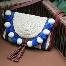 Latest Women Crochet Bag Ethnic Style Beach Straw Crossbody Pom Pom Tassel Purse