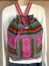 Baja Bag No Bad Days RASTA Surfer Hippie Mexican Backpack Pink Green Orange