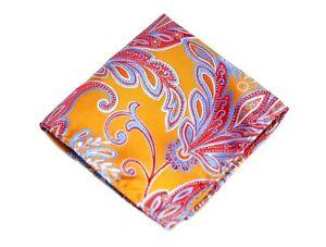 Umberto Algodon Napoli Men's Miami Orange Floral Paisley Woven Pocket Square