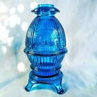 Vintage Viking Blue Glass Pot Belly Stove Fairy Lamp  photo