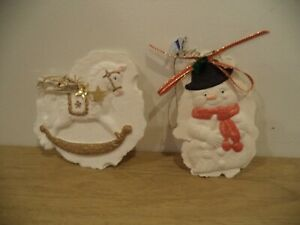 2  PAPER CAST ART JOYE ANNA SIGNED ORNAMENT, HORSE AND NOWMAN