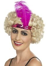 Pink Sequin & Feather Flapper Headband Fancy Dress 1920s Costume Accessory