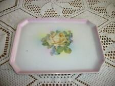 Antique Chic 20s Porcelain Yellow Roses Pink Vanity Tray German Hp Shabby