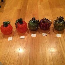 "MADE IN USA 5"" Small Hand Blown Glass Pumpkin Halloween Thanksgiving Decoration"