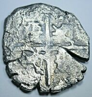 1600's Shipwreck Spanish Silver 4 Reales Cob Four Real Colonial Treasure Coin