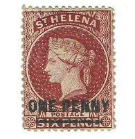 1868 ST. HELENA STAMP SC #18 OVERPRINT 1 PENNY ON 6 PENCE