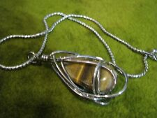 "SHINY SILVER TONE WIRE WRAPPED 2""TIGER EYE ENCAGED NICELY 16""CHAIN-REAL NICE PC."