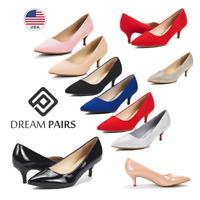 DREAM PAIRS Women's Slip On Pump Shoes Low Stilettos Heel Wedding Dress Shoes