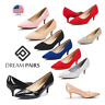 DREAM PAIRS Women's Low Heel Pointed Toe Wedding Party Slip On  Dress Pump Shoes