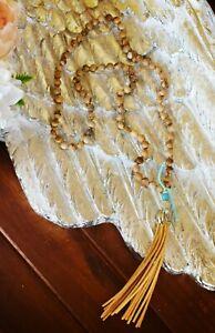 Luxe Healing Boho - Gemstone Brown Jasper Stone Bead Long Suede Tassel Necklace