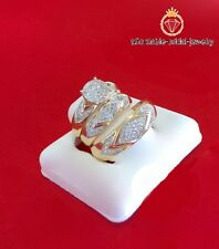 14K Yellow Gold His & Hers Mens Womens Diamond Engagement Wedding Ring Trio Set
