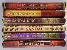 Hem Incense Sticks Sandalwood Variety Set: 6 x 20, Total 120 Stick