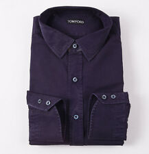 NWT $540 TOM FORD Washed Midnight Blue Cotton Button-Front Shirt 17 x 35
