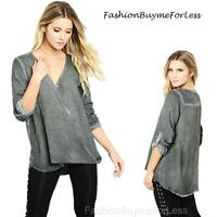 Gypsy BOHO Haute Mineral Washed Gray Blouson Blouse Hippie Tunic Shirt Top S M L