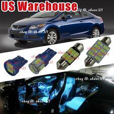 12-pc Aqua Ice Blue Interior Led Light Package Inside Kit For 06-12 Honda Civic