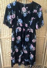 c7427cd6804613 PRIMARK Size 14 Black 3 Button Waist Over Top Blouse Floral Print Tunic  Beautifu