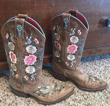 Macie Bean Western Boots Girls Floral Honey Brown Rose Garden Floral 4 Cowboy