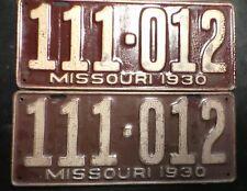 Nice Pair of 1930 MO Missouri license plates