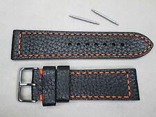 24mm men's genuine leather watch band strap black orange stitches buffalo grain