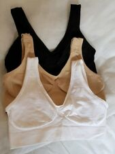 Rhonda Shear Brights AHH Seamless Leisure Bra 3 Pack SIZE SMALL BLACK WHITE NUDE