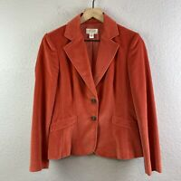 TALBOTS Women's 6 Petite Velvet Blazer Jacket Button Front Silk Blend Orange
