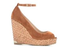 JIMMY CHOO Women's Pacific 120 Brown Suede Wedge Sandals 6147 Sz 41 EUR $550