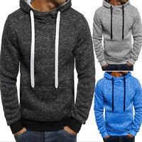 Mens Plain Fleece Hoodies Sweatshirt Hooded Pullover Pocket Sweater Tops Jumper