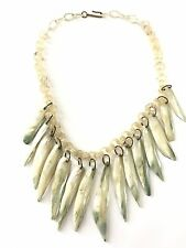 Vintage Bakelite Era Celluloid and Mother of Pearl Bib Necklace