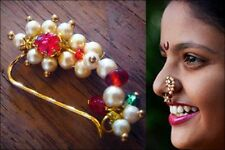 Maharashtrian Press Nath Unpierced Nose Ring Pink Colour Stone Beads-Medium