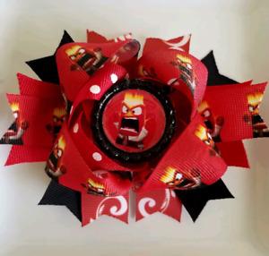 "Inside Out Pixar Disney Anger Emotion Red Black Yellow Bottle Cap Hair Bow 5"""