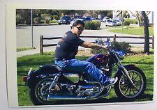 Vintage PHOTO Of Man On Custom Harley Davidson Motorcycle w/ Flame Paint Job