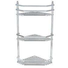 3 Tier Chrome Corner Shower Rack Caddy Bathroom Shelf Organiser Unit Tidy Basket