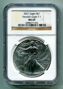 2021 SILVER EAGLE HERALDIC EAGLE T-1 NGC MS69 CLASSIC BROWN LABEL AS SHOWN PQ