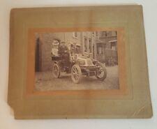antique cabinet card photo car old automobile large size lady model T ?