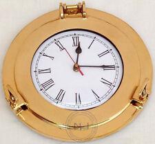 "10"" Ship Window Wall Clock Home Decor Nautical Marine Brass Ship Porthole Clock"