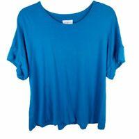 Lou & Grey Womens Large Short Sleeve Teal Sweater Top