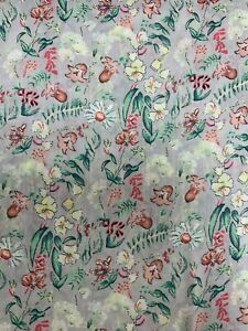 Vintage Red/green Floral On Grey Dressmaking Cotton Fabric By The Metre