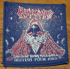 HAWKWIND MASQUES BRITISH TOUR 1982 EMBROIDERED WOVEN CLOTH SEWING SEW ON PATCH