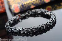 1 Schwarz Edelstahl 316L Herren Punk Armkette Königskette Armband 22.5cm