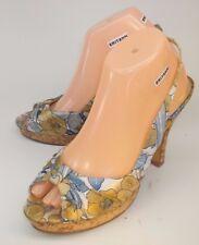 Steve Madden Wos Shoes Slingbacks POEMS US 9 Multicolor Floral Fabric Cork Heels