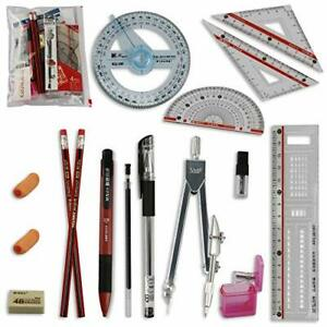 Math Set Engineer Geometry Drawing Tools Drafting Kits Protractor Compass Rulers