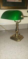 Antique Banker Desk Lamp Green Glass Shade Vintage