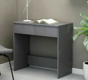 Small Computer Desk with Drawers Grey Laptop Writing Dressing Table Workstation
